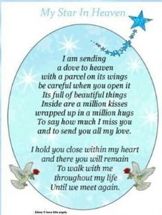 """ My Star In Heaven "" ~ I Am Sending A Dove❤️ To Heaven With A Parcel On Its…"
