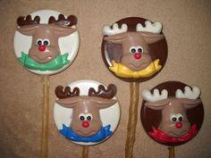 1 Dog Safe Chocolate christmas reindeer on round Rawhide lollipop Lollipops