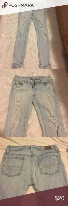 AE light wash skinny jeans American Eagle Outfitters light wash destroyed skinny jeans. Size 0 regular. American Eagle Outfitters Jeans Skinny