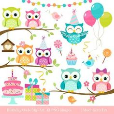 This Owls Clipart 'BIRTHDAY OWLS' Clip Art. Birthday Clipart is just one of the custom, handmade pieces you'll find in our craft supplies & tools shops. Owl Birthday Invitations, Birthday Clipart, Bunting Banner, Web Banner, Owl Png, Owl Clip Art, Owl Classroom, Cute Owl, Craft Items