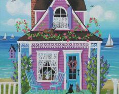 Nantucket Breeze Cottage Original Folk Art by KimsCottageArt