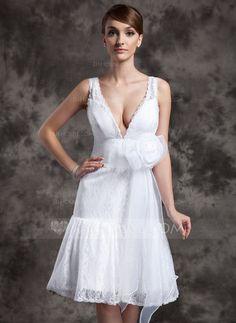 A-Line/Princess V-neck Knee-Length Organza Lace Wedding Dress With Flower(s) (002024078) - JJsHouse