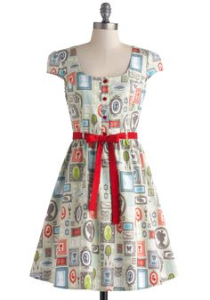 Creative Portrait Dress in Frames. As an abstract artist, you put a creative spin on everything you do - let your unique style shine in this quirky, printed dress! #multi #modcloth