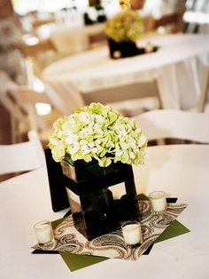 Wedding Centerpiece Idea: Dress it Up with Paper. To get a classic yet modern centerpiece try a bundle of hydrangea in a square vase. To incorporate your color scheme use scrapbook paper. Add an extra glow by placing votives around the arrangement.