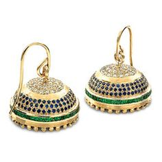 Rasvihar Asaveri - These18 kt gold jhumkas capture the fluorescent beauty of a peacock's plumage in a design of antique charm. Crowning each jhumka are classic round brilliant cut diamonds, magnificent against intricately worked gold. Three circles of cool, deep blue sapphires grace the central segment, followed by a glowing strip of princess cut tsavorites. Large gold beads around the rim add a pretty finishing touch, while the stylish ear-hook spells elegance.