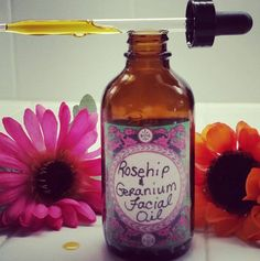 Rosehip and Geranium Anti-aging Face and neck Oil...come see my Handmade Organic products sold on Etsy! You will love them...Believe me..<3