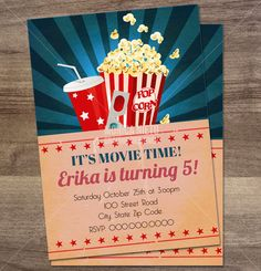 Custom printable Movie Party Birthday by MonicaGraphicDesign