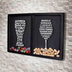 Quadro Misto para Rolhas e Tampinhas – Tipos de Vinho e Cerveja Mixed Frame for Stoppers and Lids – Types of Wine and Beer Wine Cork Shadow Box, Wine Cork Art, Beer Kitchen, Home Bar Rooms, Shabby Chic Stil, Dining Room Wall Decor, Wine Decor, Wine And Beer, Bars For Home