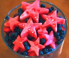 4th of July, watermelon stars and blueberries, light, refreshing, and beautiful