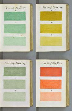 """palette de couleurs, A. Booggert """"De Klaerligtende Spiegel der verfkonst"""", 1692, 17e siècle, vert pâle, jaune, orange"""