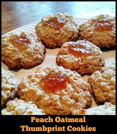 Easy Peach Oatmeal Thumbprint Cookies Recipe - From Val's Kitchen