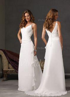 Robes de mariée - $126.85 - Forme Princesse Col V alayage/Pinceau train Mousseline Satiné Robe de mariée avec Plissé Emperler (00205001425)