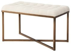 Threshold Tufted Bench, Cream and Gold - Contemporary - Bedroom ...