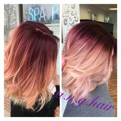 Violet base with rose gold mid shaft, and balayage blonde throughout!! Love how…