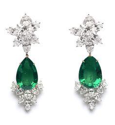 Harry Winston Vintage Diamond and Emerald Chandelier Earrings