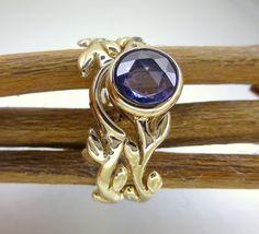 Rose cut blue sapphire  Engagement ring 14k by ValerieKStudio, $485.00