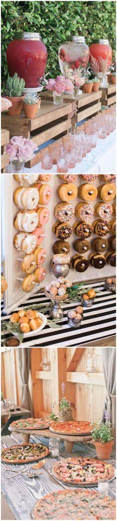 Wedding Ideas & Wedding Food & 28 Mouth-watering Wedding Food/Drink Bar Ideas for Your Big Day Wedding Reception Food, Wedding Menu, Wedding Tips, Fall Wedding, Diy Wedding, Rustic Wedding, Wedding Planning, Dream Wedding, Cactus Wedding