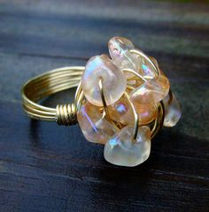 Peach Wire Wrapped Cluster Ring by OneRingyDingy on Etsy, $30.00