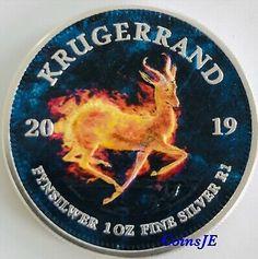 2019 2 SOUTH AFRICA KRUGERRAND 1 Oz SILVER COLOR LIMITED MINTAGE 100 PCS COA