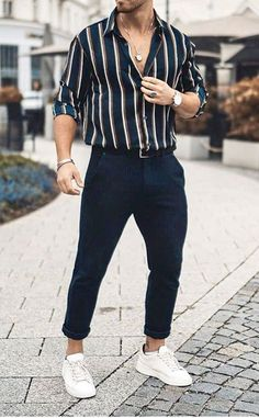Men's summer outfit for Try this style. Dark blue or black rolled up pan. - Men's summer outfit for Try this style. Dark blue or black rolled up pan… Source by streetstyleuk - Summer Outfits Men, Stylish Mens Outfits, Casual Wear For Men, Men Summer Fashion, Summer Men, Men Summer Style, Trendy Mens Fashion, Hipster Men's Fashion, Stylish Clothes For Men