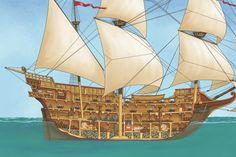 Medieval ship cutaway by MATArt on DeviantArt Old Sailing Ships, Man Of War, Ship Paintings, Naval History, Black Sails, Tall Ships, Model Ships, Paper Models, Cutaway