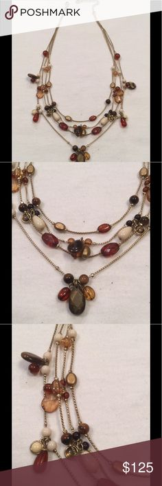 "Carolina Herrera necklace EXCELLENT Condition Carolina Herrera Tiger eye mother of pearl multi strand necklace measures 10"" drop Carolina Herrera Jewelry Necklaces"