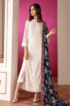 White Colour Georgette Fabric Party Wear Semi Stitched Pakistani Suit Comes With Matching Bottom and Dupatta. This Suit Is Crafted With Embroidery and Print. This Suit Comes As a Semi Stitched Which C. Simple Pakistani Dresses, Indian Gowns Dresses, Pakistani Dress Design, Pakistani White Dress, Pakistani Fashion Party Wear, Pakistani Wedding Outfits, Pakistani Casual Wear, Latest Pakistani Fashion, Bollywood Fashion