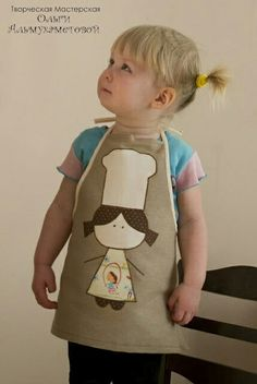 Apron for a chef. Sewing Hacks, Sewing Crafts, Sewing Projects, Sewing For Kids, Baby Sewing, Childrens Aprons, Cute Aprons, Sewing Aprons, Apron Designs
