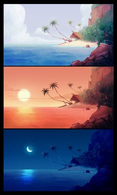 ArtStation - A day in the pacific ocean, Thibaut Denise Environment Painting, Environment Concept Art, Environment Design, Digital Painting Tutorials, Digital Art Tutorial, Animation Background, Art Background, Landscape Drawings, Landscape Art