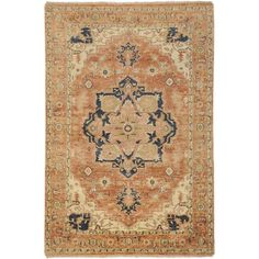 Zeus Collection 100% Wool Area Rug in Rust Gold Tan By Surya Rugs