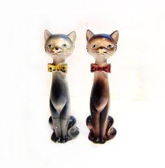 Porcelain Cat Figurines by Japan Vintage 1960s by VintagePennyLane