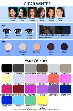 As a clear spring (spring-winter) you can wear the warmest colours of a clear winter (winter-spring). Clear Spring, Clear Winter, Deep Winter, Which Hair Colour Is Best, Color Type, Find Color, Colour Board, Type 1, Winter Typ