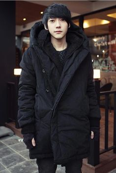 Fashionable Hooded Slimming Solid Color Button Embellished Long Sleeves  Thicken Cotton Coat For Men b5f315439