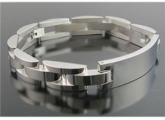 SharkStores - BlackJack Polished Stainless Steel Engravable ID Mens Bracelet