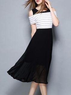 Elegant Open Shoulder Sleeve Stripes Slim Maxi Dress - oshoplive