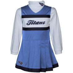 Tennessee Titans Infant Girls Jumper Turtleneck Cheer Dress - Light Blue/White