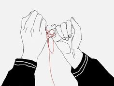 """""""There's an old story in Chinese folklore about a magical connection between two people that are destined to be soul mates, called 'the red string of fate'. It's tied to a pinky finger of every person on earth and stretches all the way out to the pinky finger of their soul-mate wherever that is, regardless of time and space. Legend says that the string can get very tangled up but it will never break. The red string has bound you to your soul mate your destiny is set, no matter what you…"""