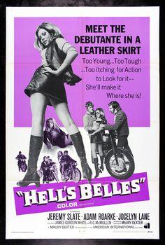 HELL'S BELLES * CineMasterpieces ORIGINAL BIKER BAD GIRL MOVIE POSTER NM-M 1969