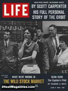 Life Magazine June 8, 1962 : Cover - stock market worriers.