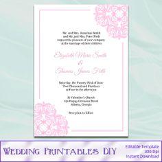 DIY Printable Wedding Invitation Templates by WeddingPrintablesDiy, $8.00