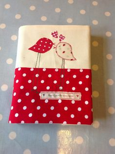 'Love Birdies' removable note book cover by Love Sewing. Hand sewn with love.
