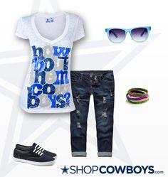 The Dallas Cowboys Ainsley Burnout V-Neck T-Shirt - White