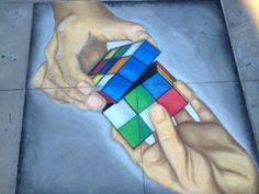 Barnhart School: Rubiks Cube Entry at the Recent 2012 Pasadena Chalk Festival – Pasadena Schools Chalk Festival, Rubik's Cube, Cube Puzzle, Chalk Art, School