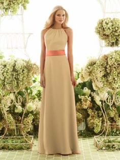 This color combination for the venetian gold dress colored dress.  Tangerine color sash.