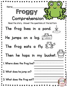 FREE PRINTABLES Kindergarten Reading Passage with Comprehension Questions – FREEBIES Spring Frog theme – fluency and sight word practice – guided reading groups – small reading groups and intervention – first grade RTI - Kids education and learning acts 1st Grade Reading Worksheets, First Grade Reading Comprehension, Guided Reading Groups, English Worksheets For Kids, Phonics Reading, Kindergarten Writing, Reading For Grade 1, Reading Lessons, Writing Practice For Kids