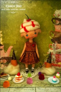 "RESERVED for Lisa - Cherry - ooak 9,5"" art doll - Candy Land"