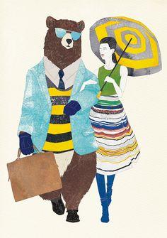 Unpublished, Self-promotional, No.150224. #illustration #spring #people #woman #bear #fashion #KoMachiyama #fashionillustration #イラストレーション #春 #熊 #女性 #人物画 #ファッション #コーマチヤマ #ファッションイラストレーション