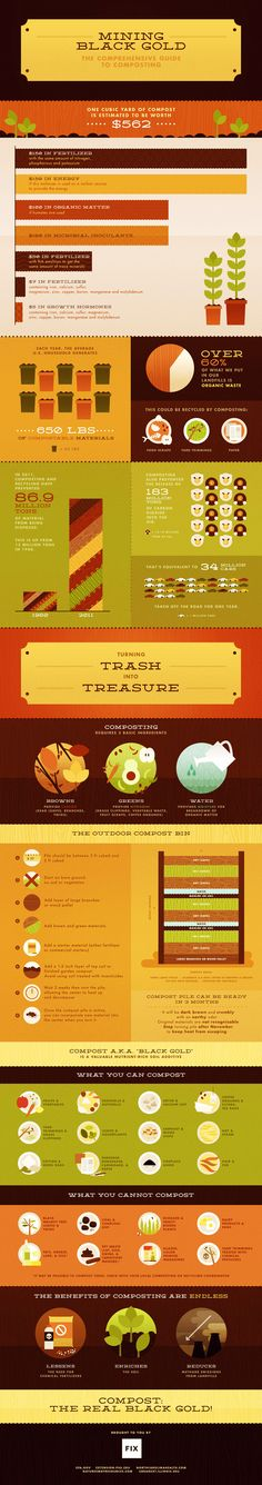Composting: The black gold of your garden [Infographic] by fix via mnn.com #Infographic #Composting