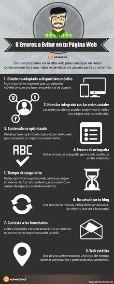 8 errores a evitar en tu Página Web #infografia #infographic | TICs y Formación