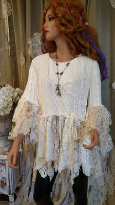 cdbb4272e4af72 Upcycled Off White L Sweater Tunic Vintage Lace Crochet Bell Sleeve Top  tmyers  OldNavySweaterUpcycledbyme